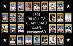 1964 ST LOUIS CARDINALS Baseball Card Complete Set POSTER Ar