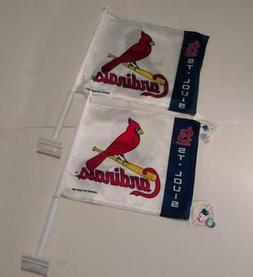2 PACK St. Louis Cardinals Car Window Flags MLB SHIPS FREE w
