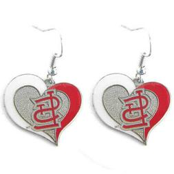 Brand New MLB St. Louis Cardinals Swirl Heart Earring Dangle