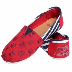 FOCO St Louis Cardinals Women's MLB Slip On Canvas Stripe Sh
