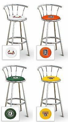 "Bar Stool 29"" Tall MLB Swivel Seat with Backrest Chrome Meta"
