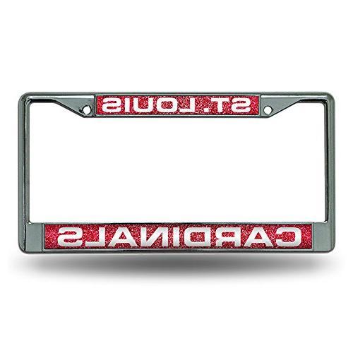 St. Louis Cardinals MLB Bling Glitter Chrome License Plate F