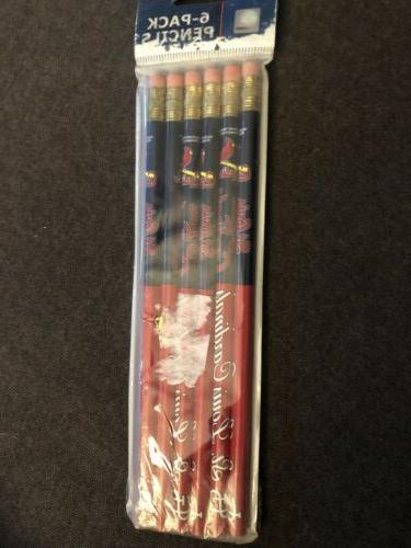mlb pencils 6 pack st louis cardinals