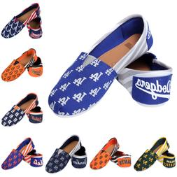 MLB Baseball Team Logo Womens Slip On Canvas Shoes - Choose