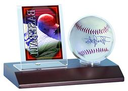 MLB Dark Wood Base Ball and Card Holder