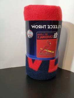 "MLB St. Louis Cardinals Fleece Throw Blanket 40"" x 50"" New"