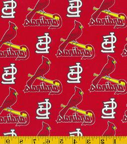 MLB ST LOUIS CARDINALS RED PRINT 100% COTTON FABRIC BY THE 1