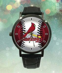 MLB St Louis Cardinals Watch Black Faux Leather Band