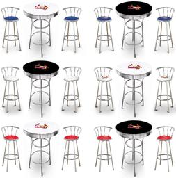 MLB ST. LOUIS CARDINALS WHITE OR BLACK BAR TABLE SET W/BACKR