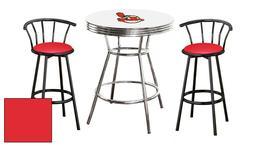 MLB White Pub Bar Table Set w/Black Stools Team Logo Decal M