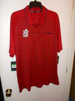 NWT Mens Nike St. Louis Cardinals MLB Striped Golf Polo Shir