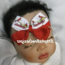 St Louis Cardinals Baseball Dainty Hair Bow Headband 4 Preem