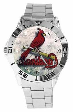 MLB St. Louis Cardinals Watch Stainless Steel Band Black Box