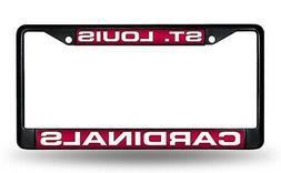 St Louis Cardinals BLACK LASER FRAME Metal Chrome License Pl