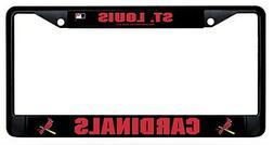 St Louis Cardinals BLACK Metal Chrome License Plate Frame Ta