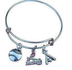 St. Louis Cardinals Charm Baseball Bangle Bracelet Jewelry G