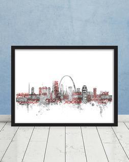 St Louis Cardinals Hall of Fame Players Skyline Wall Art Bas