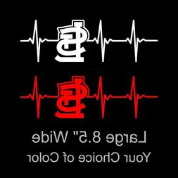 St Louis Cardinals Heartbeat Large 8.5 Inch Vinyl Decal Stic