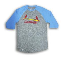 St Louis Cardinals Men's Majestic Gray/Baby Blue 3/4's Sleev