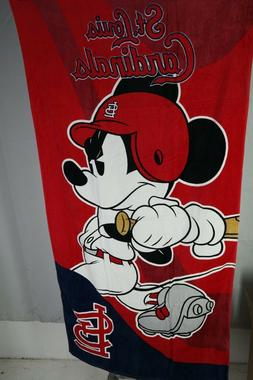 St Louis Cardinals Mickey Mouse Towel Disney Emblem Beach To