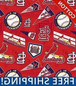 """St. Louis Cardinals MLB Cotton Fabric - 58"""" Wide - Style# 14"""