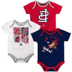 "Majestic St. Louis Cardinals MLB Infant ""Go Team"" 3-Pack Bod"