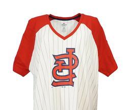 St. Louis Cardinals MLB Majestic Women's Pinstripe Raglan V-