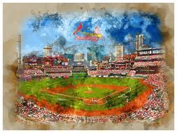 St. Louis Cardinals Poster Watercolor Art Print Man Cave Dec