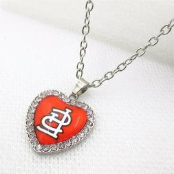 St Louis Cardinals rhinestone heart pendant necklace silver