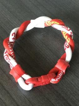 St Louis Cardinals Twisted Red & White Bracelet. Approximate